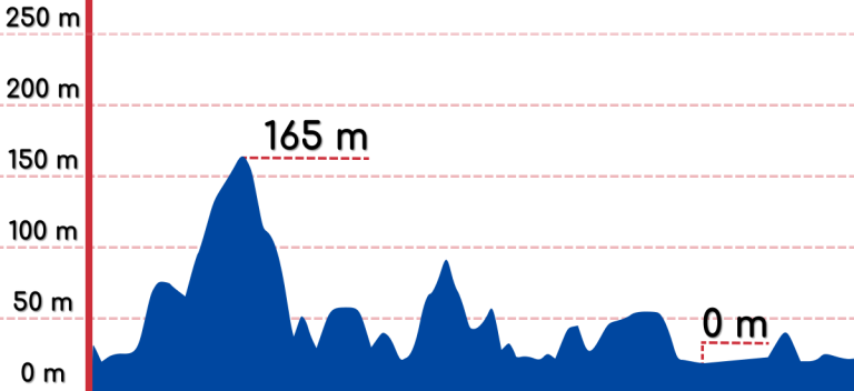 An elevation graph of the Daejeong to Pyoseon bike path.