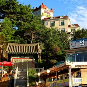 A seaside hotel near the city of Gangneung in South Korea.
