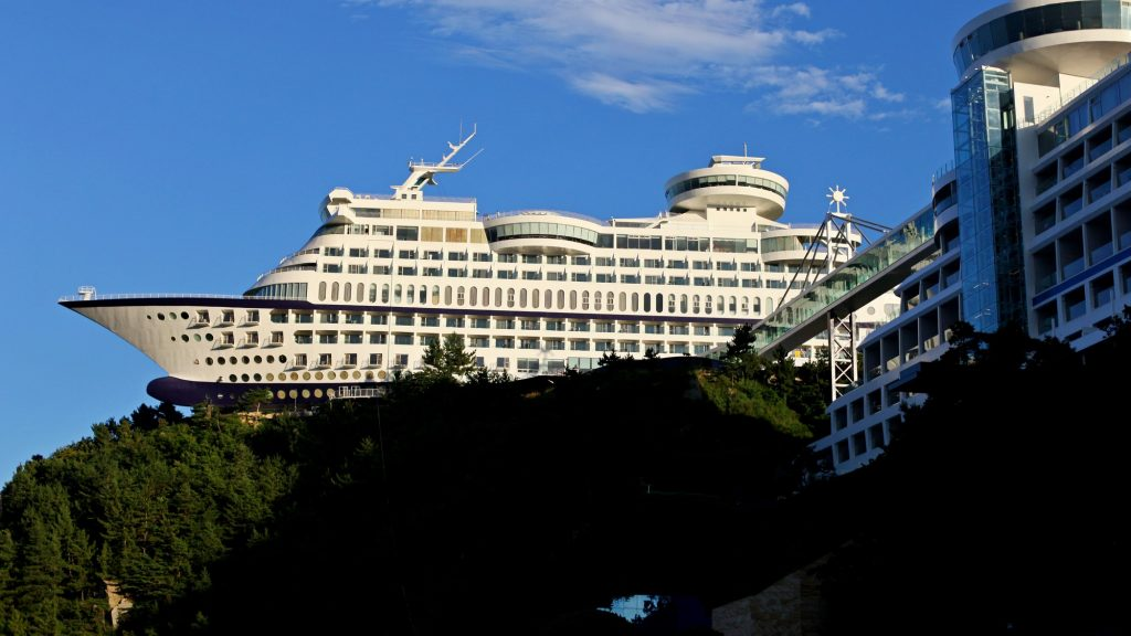 A picture of the Sun Cruise Hotel and Resort along the East Coast Bike Path in South Korea.