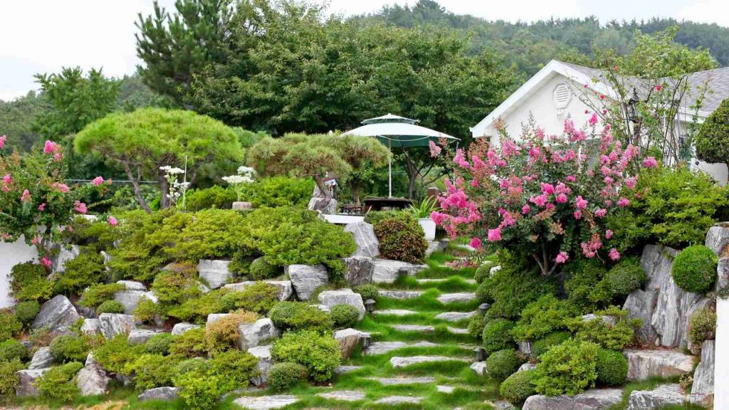 A Korean home with a lush garden.
