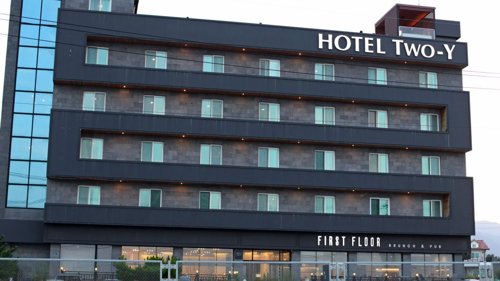 A hotel hear the city of Sokcho along the Gyeongbuk Bicycle Path in South Korea.
