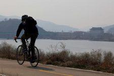 Nakdonggang-Bike-Path-Daegu-Namji-Biker-and-Temple