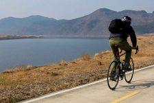 Nakdonggang-Bike-Path-Daegu-Namji-Biker-on-Bike-Path-and-Hills