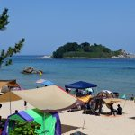 A picture of a tent on a beach near the city of Sokcho on the east coast of Korea.