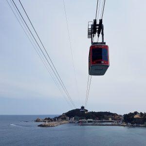 The Samcheok cable car crosses a bay near the city of Samcheok in South Korea.