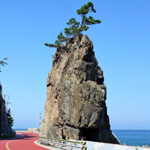 A tall rock along the East Coast (Gyeongbuk) Bicycle path in Sourth Korea.