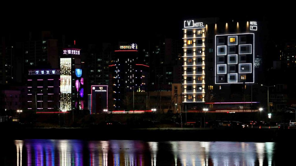 Love motels sit on the edge of a river in Ulsan, South Korea.