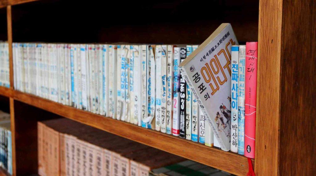 A picture of a book written in Hangul on a bookshelf.