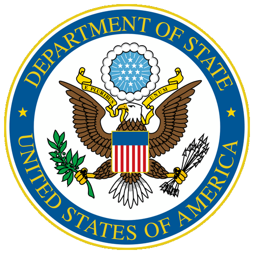 The United States of America embassy logo.