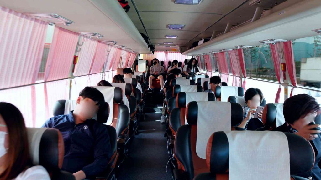 A picture of the inside of a luxury intercity bus in Korea.