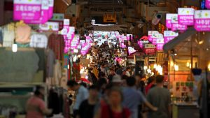 A picture of a traditional market (시장) in Ulsan, South Korea.