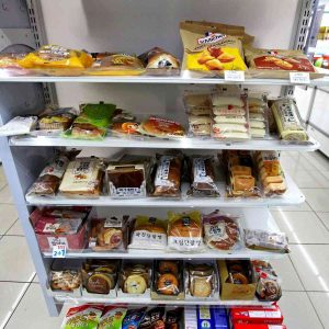 A picture of sweet bread options in a Korean convenience store.