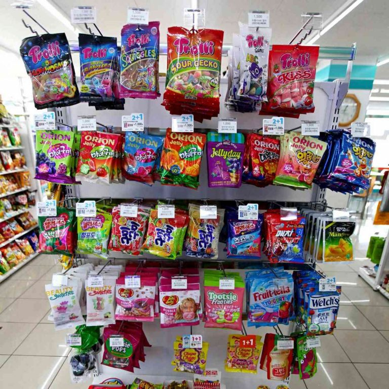 A picture of bags of candy in a Korean convenience store.