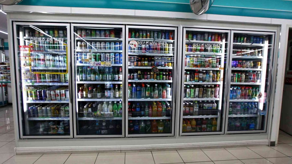Beverage refrigerators in a convenience store in South Korea.