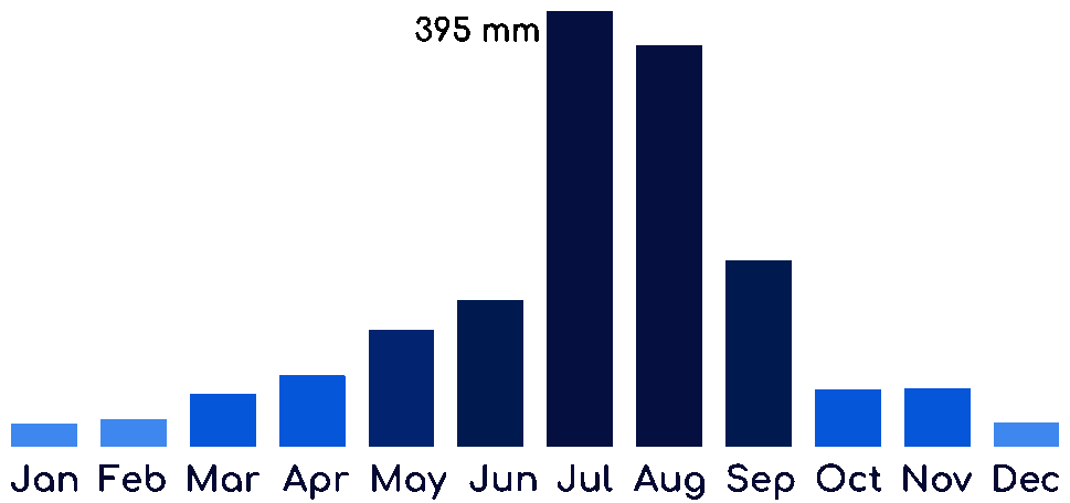 A chart showing the monthly precipitation in South Korea.