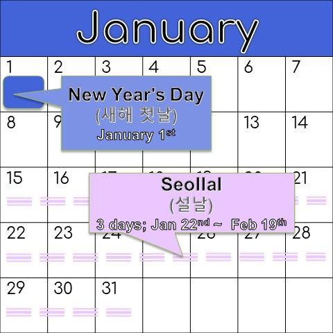 Calendar showing Korean holidays for the month of January.
