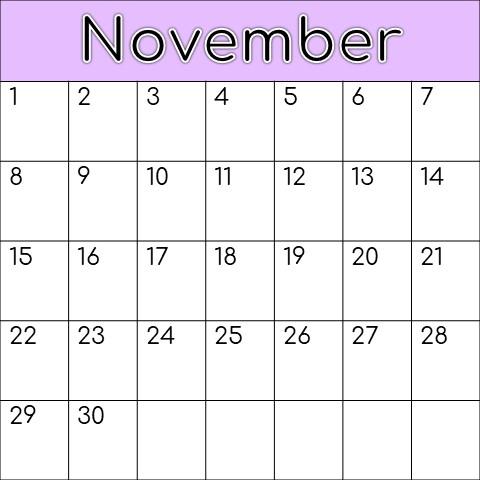 Calendar showing Korean holidays for the month of November.