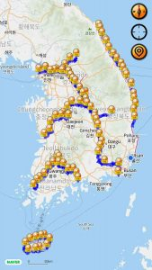 A screenshot of Korea's bike passport app showing the certification map.