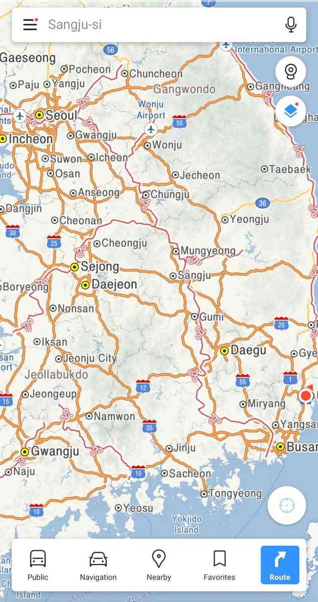 A screenshot of the Kakao Maps app.