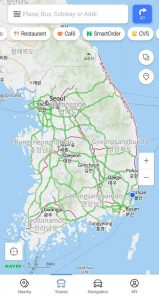 A screenshop of the Naver Maps app showing bicycle paths.