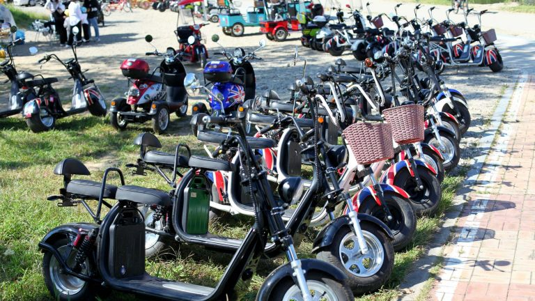 A picture of electric bikes for rent near Damyang in South Korea.