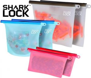 Shark Lock Silicone Food Storage Bag (6 Bags) 2 New 10 Ounce Silicone Snack Bags, 2 Med Reusable Sandwich Bags