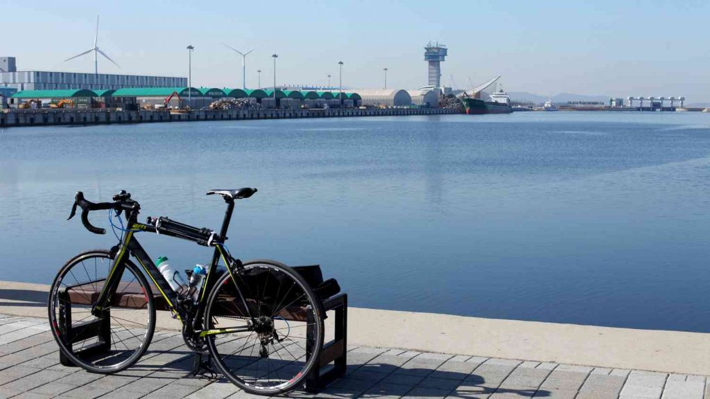 A bike before the Ara West Sea Lock in Incheon, South Korea.