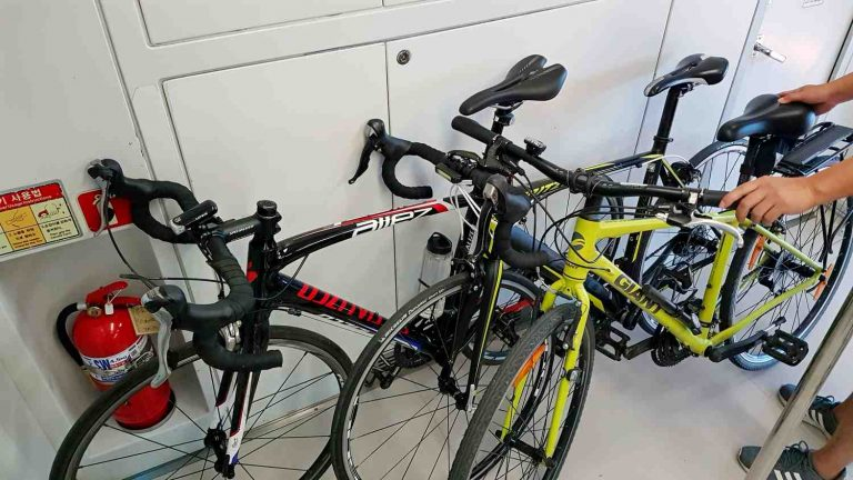 A picture of bicycles on the Incheon and Seoul Subway in South Korea.