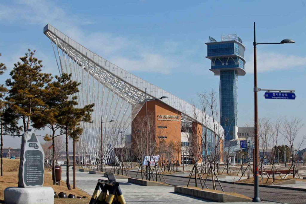 Ara Passenger Terminal and Ara Tower in Incheon, South Korea.
