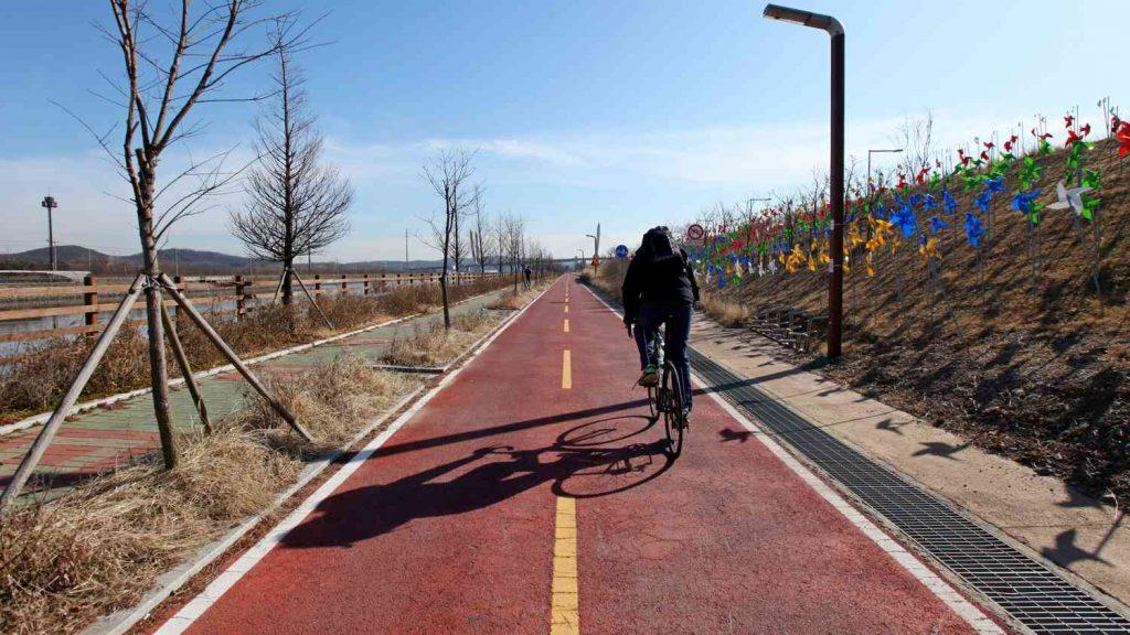 A biker on the Ara Bike Path in Incheon, South Korea.