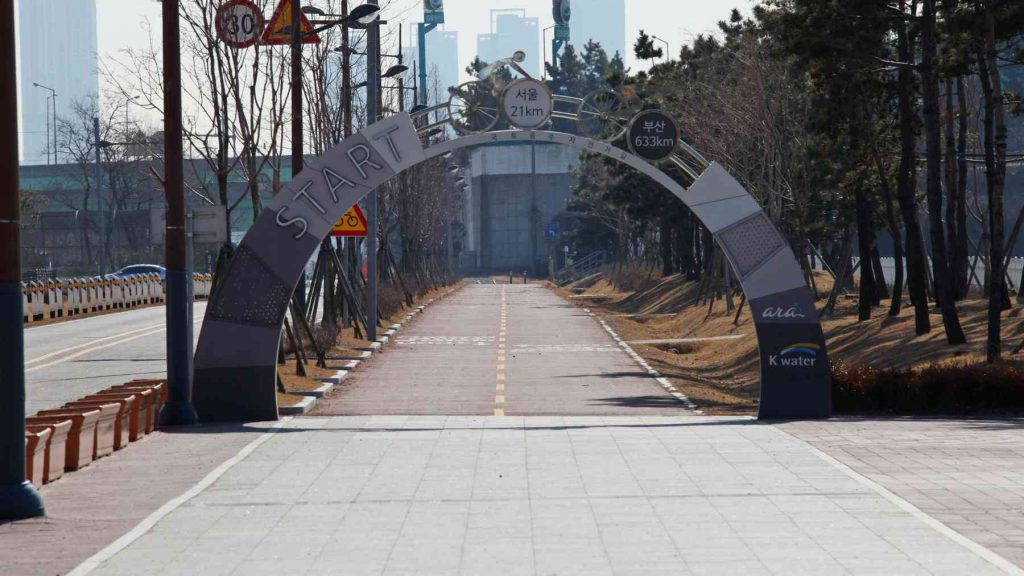 Starting gate of the Cross-Country Bike Route in Incheon, South Korea.