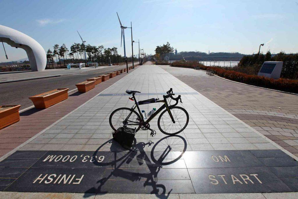 Cross-Country Start Line on the Ara Bike Path in Incheon, South Korea.