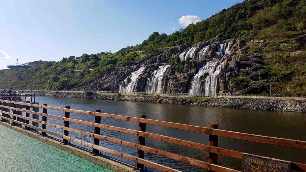 Ara Falls along the Ara Waterway in Incheon, South Korea.