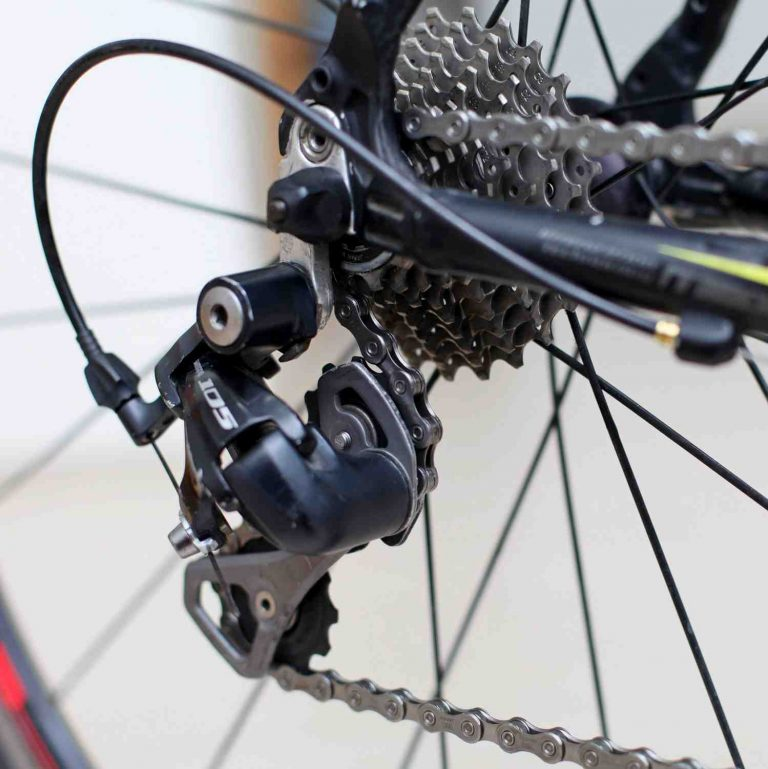 A picture of a rear derailleur on a bicycle.