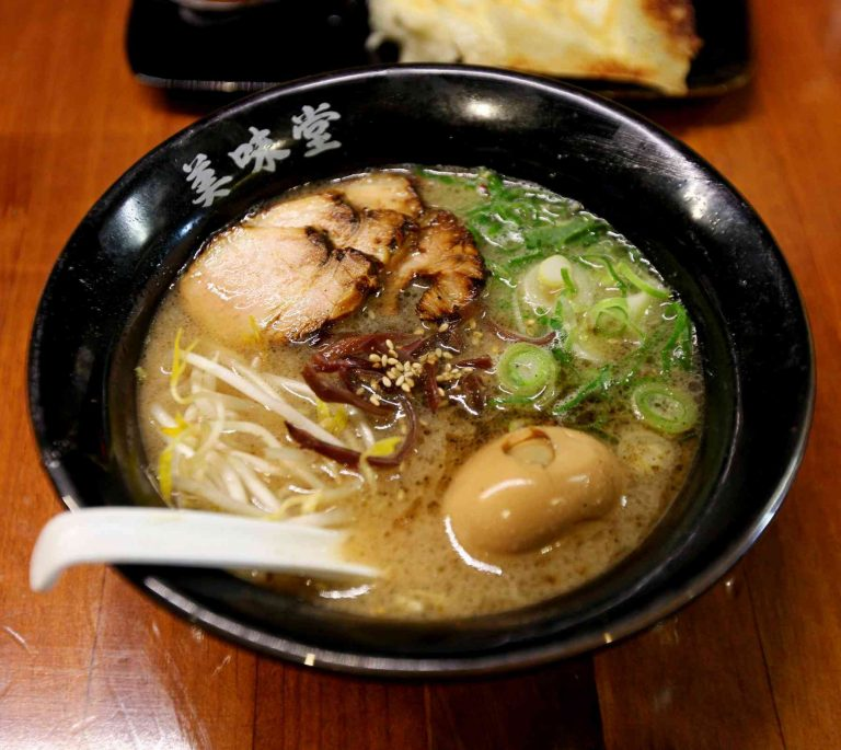 A picture of a bowl of ramen in a Korean restaurant.