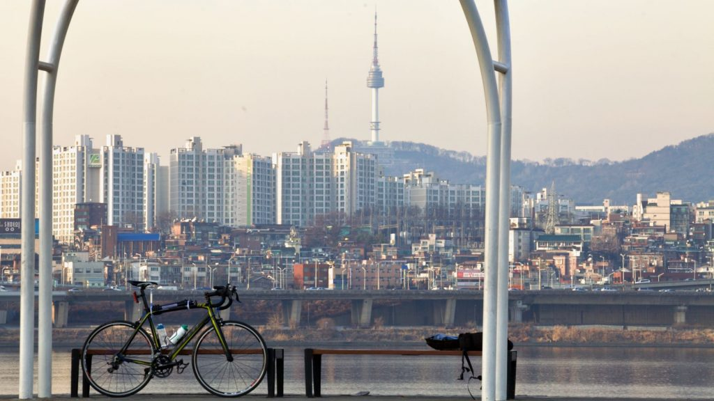 A view of the Yongsan District across the Han River in Seoul.