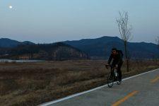 Nakdonggang Bike Path - Sangju Gumi - Rider at Nightfall