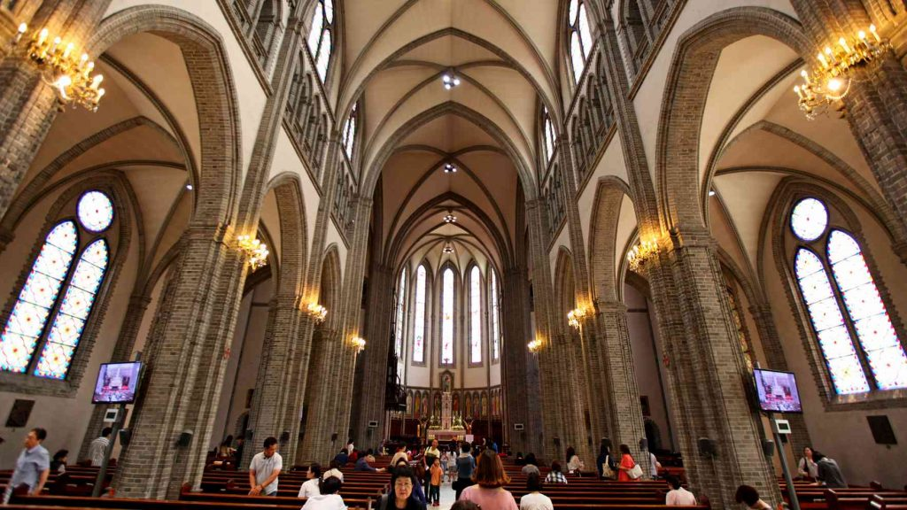 Myeongdong Cathedral interior looking towards the alter.