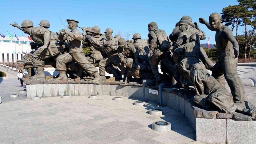 Statues of Korean War soldiers at the War Memorial of Korea.