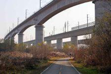 Ocheon Bike Path - Jeungpyeong Sejong - Bikers on Bike Path Under Overpass Miho Stream