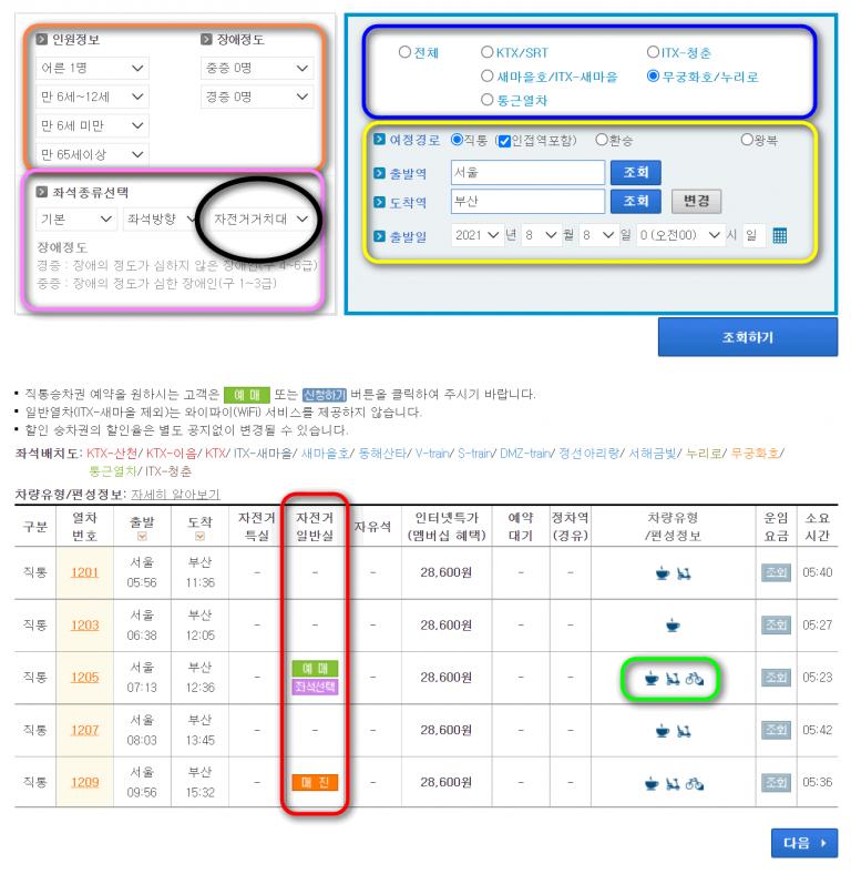 Korail Website Train Selection Screen