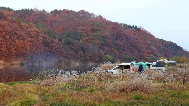 Caravans and campers claim a spot of land next to the Geum River along the Geum Bicycle Path in South Korea.