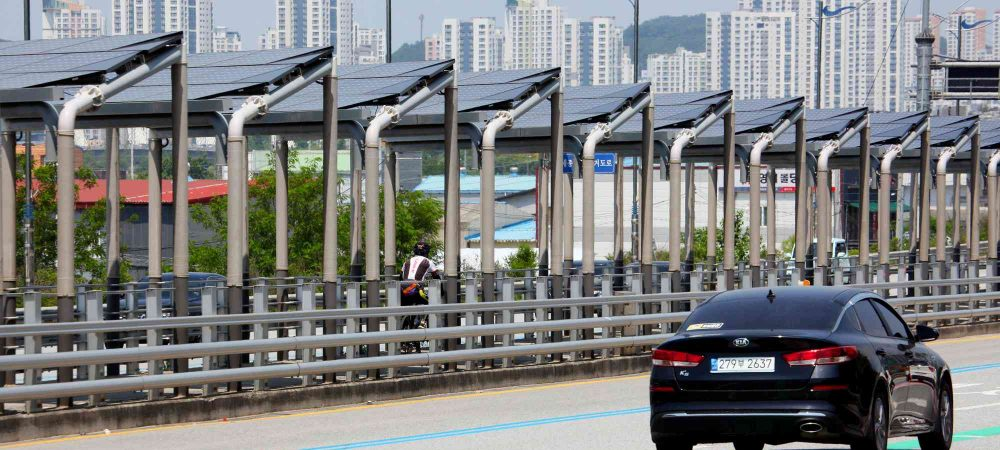Geumgang Bike Path - Daejeon Buyeo - Solar Panel Highway Biker and Car