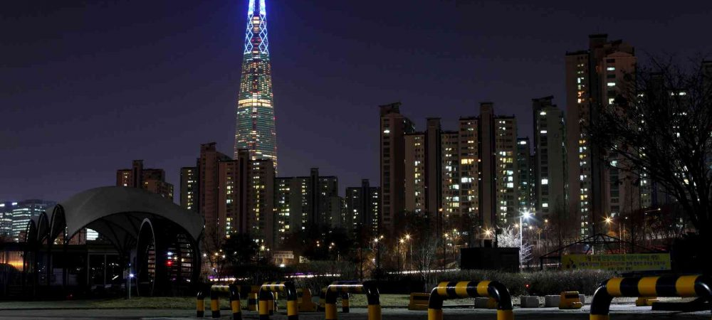 A picture of Lotte World Tower at night in Seoul, South Korea.