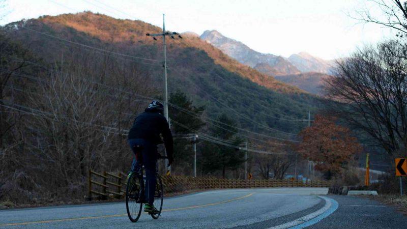 Saejae-Bike-Path-Chungju-Sangju-Rider-Mountain-Sunset