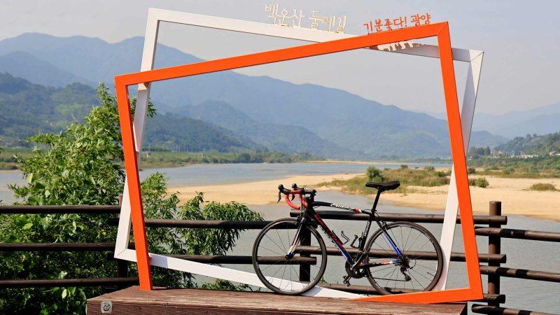Seomjingang Bike Path - Gokseong Gwangyang - Maehwa Village Picture Frame and Bike Telephoto