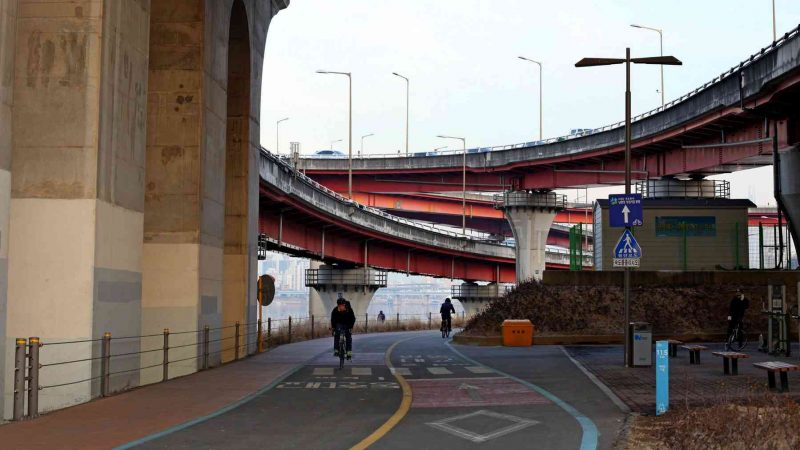 The infrastructure that flows above the bicycle paths bring a sense of awe and beauty to your ride.