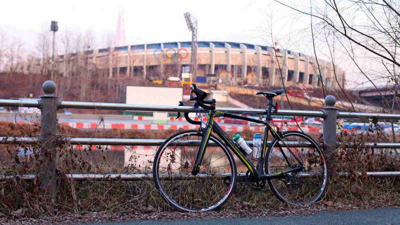 Bike and Olympic Stadium in Seoul, South Korea.