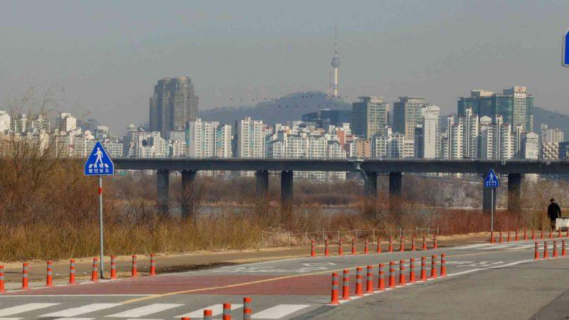 Bike path and Namsan Tower in Seoul, South Korea.