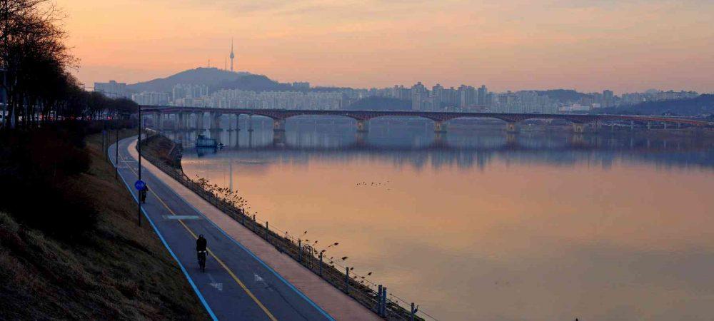 Hangang Bike Path at Sunset in Seoul.